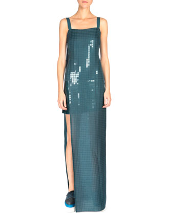Sleeveless Grid-Print Gown, Wave