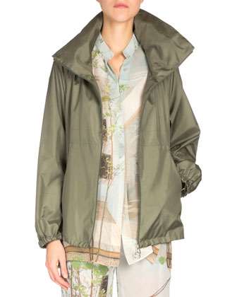 Long-Sleeve Zip-Front Parka, Olive