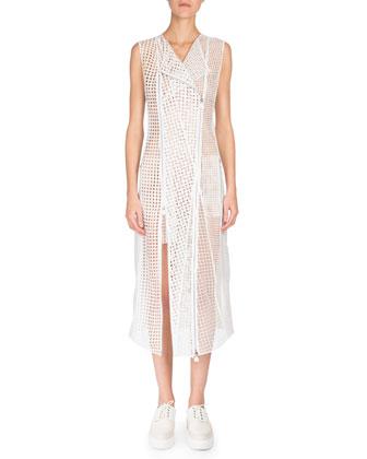 Sleeveless Patchwork-Embroidery Coat Dress, Anemone