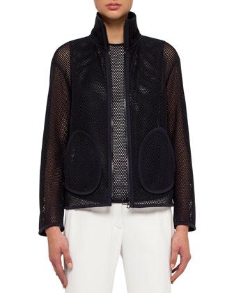 Zip-Front Mesh Jacket, Navy