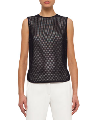 Sleeveless Jewel-Neck Mesh-Front Top, Navy