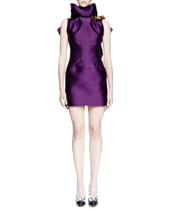 Sleeveless Ruffle-Neck Mini Dress, Purple