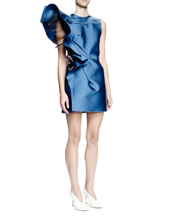 Sleeveless Structured-Ruffle Mini Dress, Pristine Blue