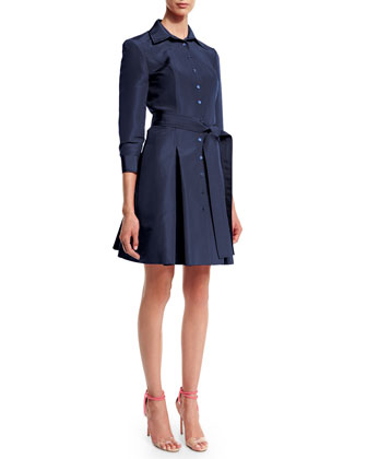 3/4-Sleeve Button-Front Trench Dress, Navy