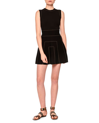 Sleeveless Embellished Mini Dress, Black