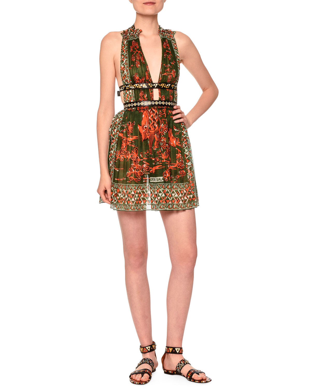 V-Neck Mini Dress W/Banded Waist, Orange/Green, Size: 10 - Valentino