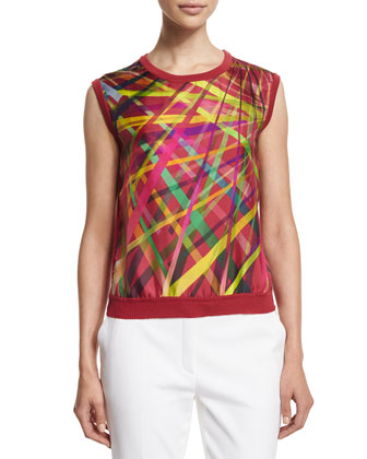L.A. Lights Printed Sleeveless Top, Multi Colors
