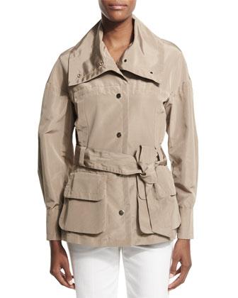 Snap-Front Belted Safari Jacket, Sand Dune