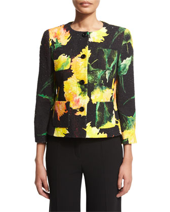 Button-Front Carnation-Print Jacket, Black