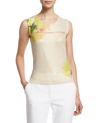 Carnation-Print Sleeveless Top, Fantasy