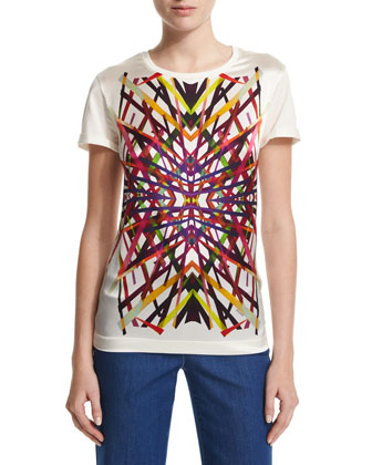 L.A. Lights Printed Tee, Off White/Multi