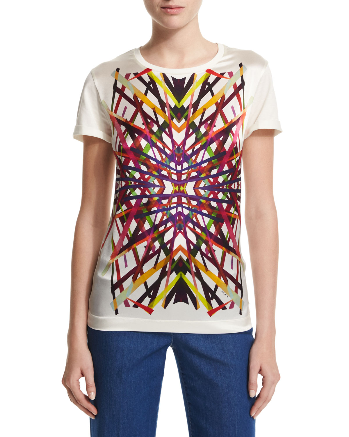 L.A. Lights Printed Tee, Off White/Multi, Size: LARGE, Off White Multi - Escada