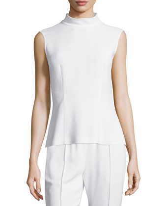 Mock-Neck Sleeveless Top, Frost