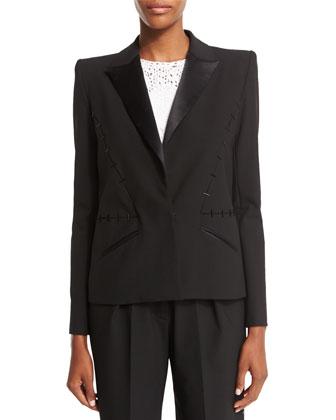 Structured Tuxedo Blazer, Licorice
