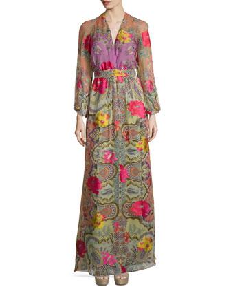 Long-Sleeve Floral-Print Faux-Wrap Gown, Orange