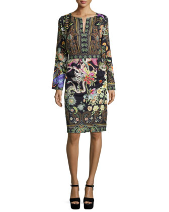 Long-Sleeve Printed Sheath Dress, Black