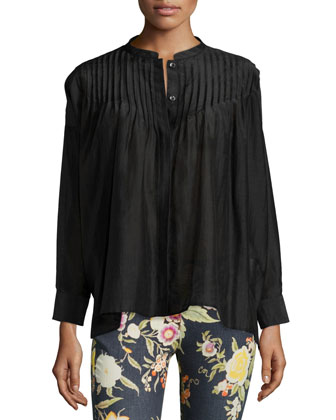 Long-Sleeve Pleated Tunic Top, Black