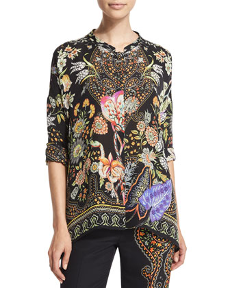 Long-Sleeve Printed Top, Black