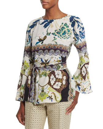 Watercolor Floral-Print Bell-Sleeve Silk Tunic, White