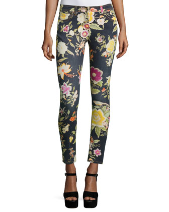 Floral-Print Skinny Jeans, Black