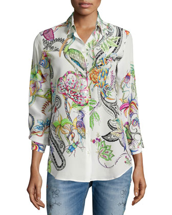 Long-Sleeve Button-Front Printed Top, White