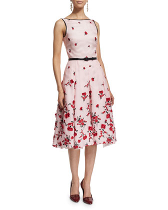 Sleeveless Carnation-Embroidered Cocktail Dress, Rose