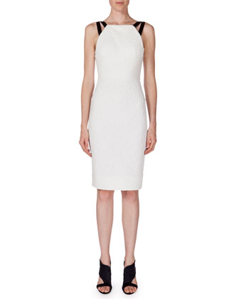 Elvaston Sleeveless Sheath Dress, White/Black