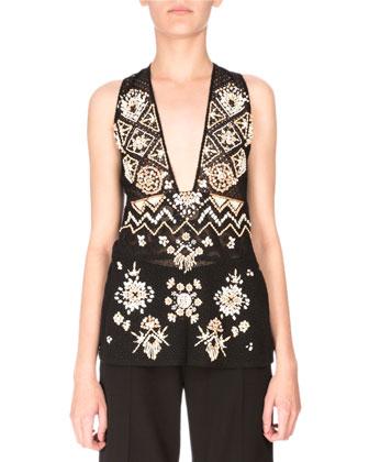 Sleeveless Embellished Lace Tunic, Black