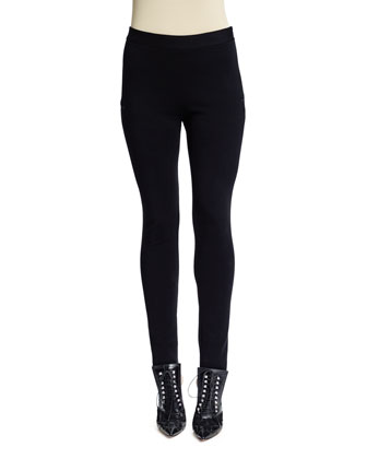 Star-Motif Punto Milano Leggings, Black
