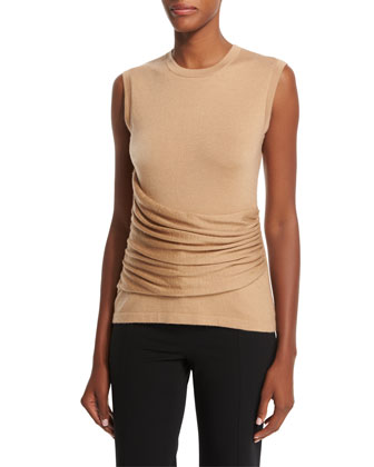 Sleeveless Gathered-Side Top, Camel