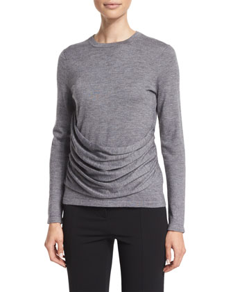 Long-Sleeve Gathered-Side Top, Gray