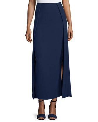 High-Waist Carwash Midi Skirt, Navy