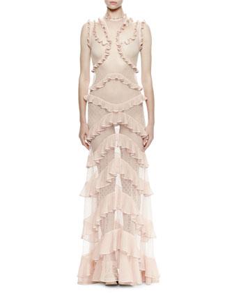 Sleeveless Tiered-Ruffle & Mixed-Lace Dress, Cameo