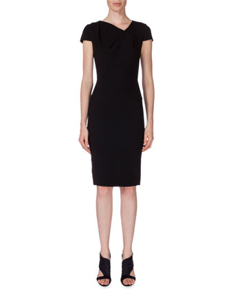 Gylia V-Neck Sheath Dress, Black