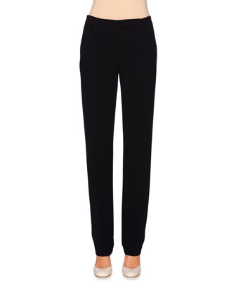 Mid-Rise Straight-Leg Trousers, Navy