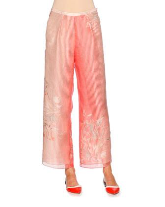 Pleated-Front Wide-Leg Striped Pants, Multi Colors