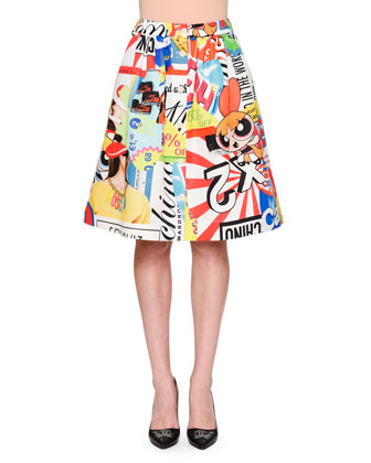 Powerpuff Girls Printed A-Line Skirt, White/Multi