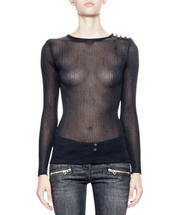 Long-Sleeve Sheer Ribbed Top, Black