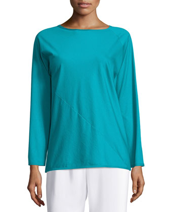 Long-Sleeve Round-Neck T-Shirt, Teal