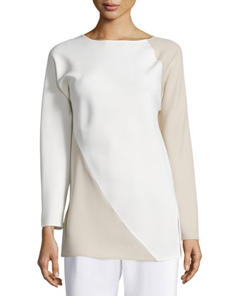 Spiral Colorblock Long-Sleeve Top, Ivory/Tan