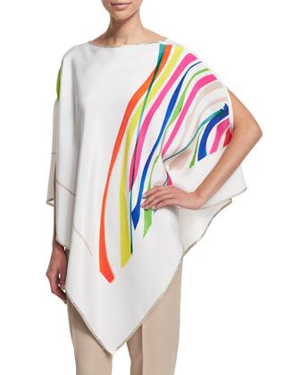 Round-Neck Matees-Print Poncho, White/Multi