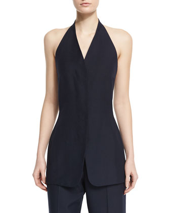 Elena Halter-Neck Long Top, Pitch Blue
