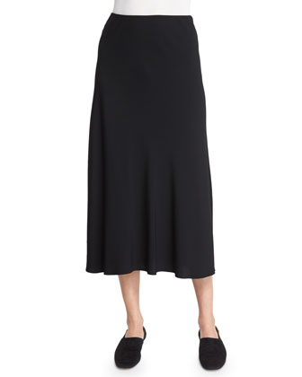 Janni Pull-On Midi Skirt, Black