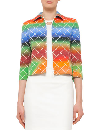 3/4-Sleeve Cropped Baseball Net-Print Jacket, Multicolor