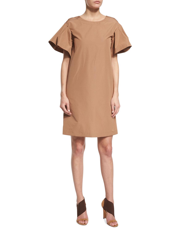 Ruffle-Sleeve Cotton Shift Dress, Phard Brown, Women's, Size: 42 (6 US) - Agnona