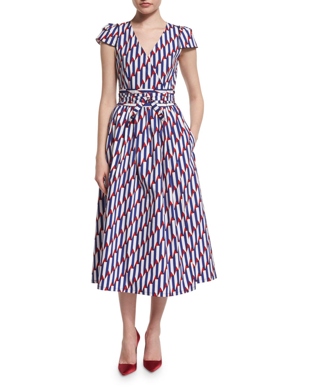 Short-Sleeve Arrow-Print Midi Dress, Blue/Red, Women's, Size: 10 - Marc Jacobs