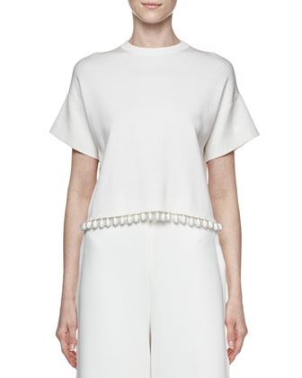 Short-Sleeve Cutaway-Back Crop Top, Off White