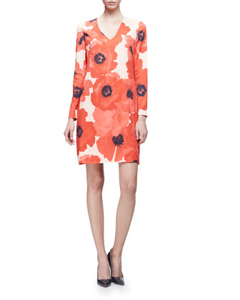 Long-Sleeve Oversize-Floral Shift Dress, Red/Multi
