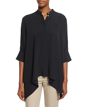 Short-Sleeve Draped Blouse, Black