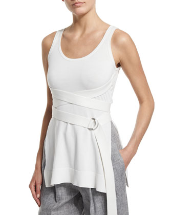 Scoop-Neck Wrapped-Belt Tank, White